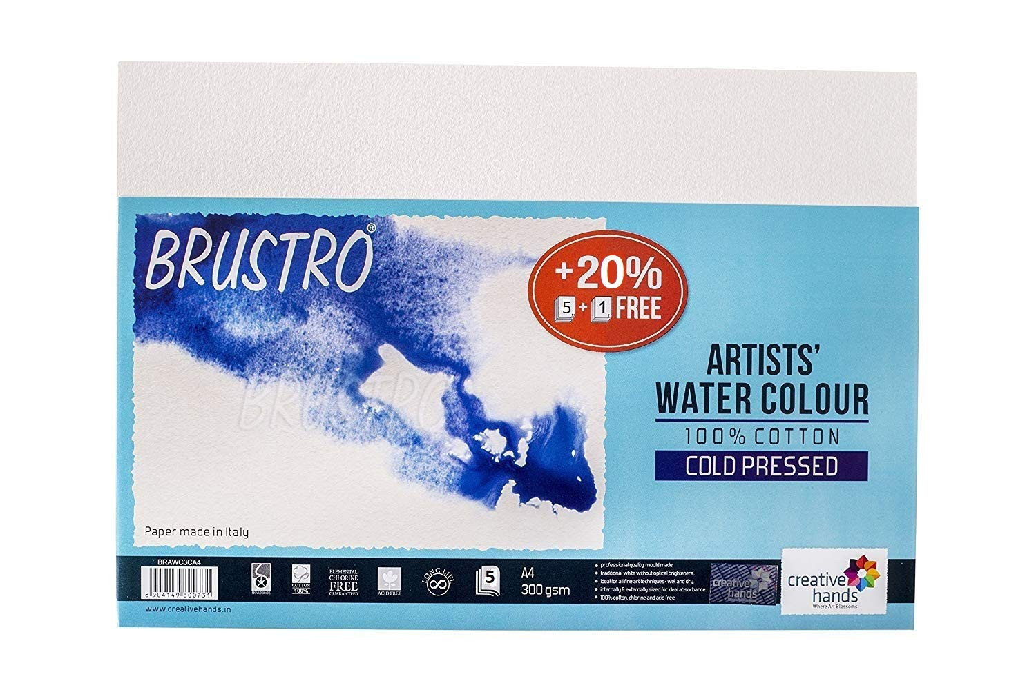 Brustro Artists Watercolour Paper, 100% Cotton, Cold Pressed, A4 Size, 300 GSM (Pack of 4 + 1 Free Sheet) product image