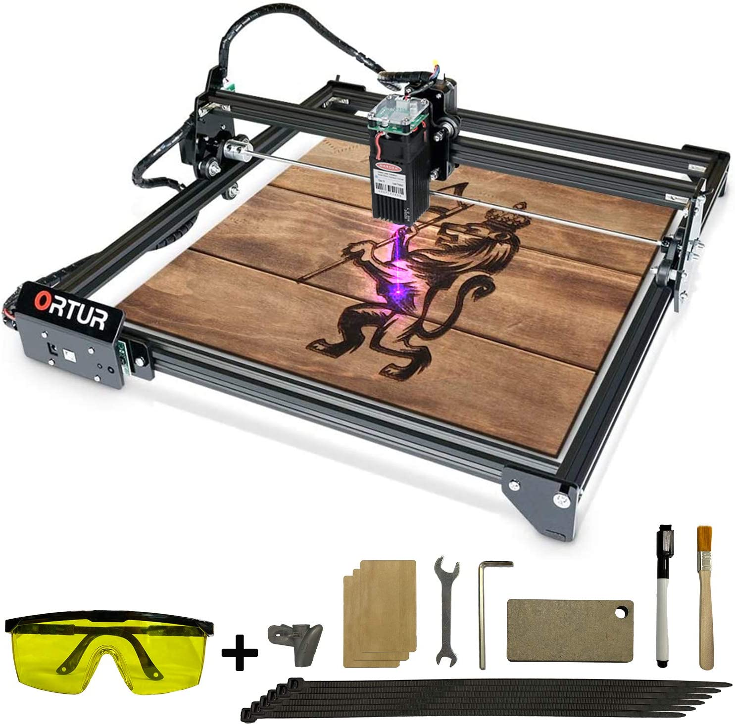 ORTUR Laser Master 2, Laser Engraver CNC, Laser Engraving Cutting Machine, DIY Laser Marking for Metal with 32-bit Motherboard LaserGRBL(LightBurn), 400x430mm Large Engraving Area (20w)