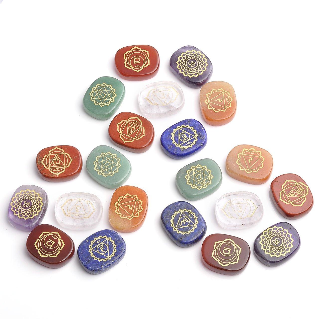 Jovivi 7 Chakra Gemstone Oval Symbol Feng Shui Healing Reiki Stones