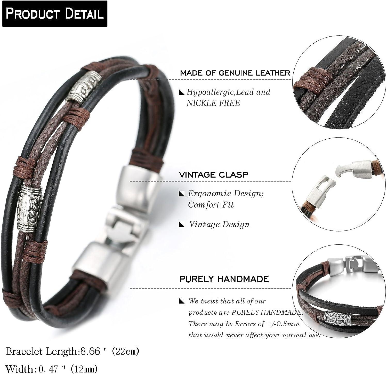Halukakah Retro Men Leather Bracelet Vintage Style 8.66In 22cm with Free Giftbox