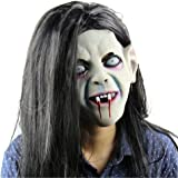 Evinis Eco Friendly Material Cosplay Mask Latex Creepy Scary Halloween Toothy Zombie Ghost Mask Scary Emulsion Skin With Hair