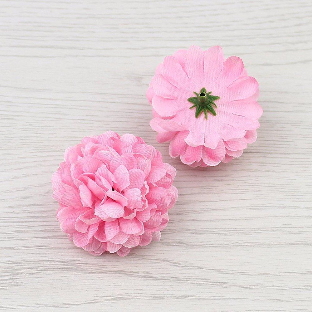 花30pcs 5 cmシルクカーネーション人工PompomヘッドMini Hydrangeaホームウェディング装飾DIY花輪 ピンク B07BR3T5BD ピンク