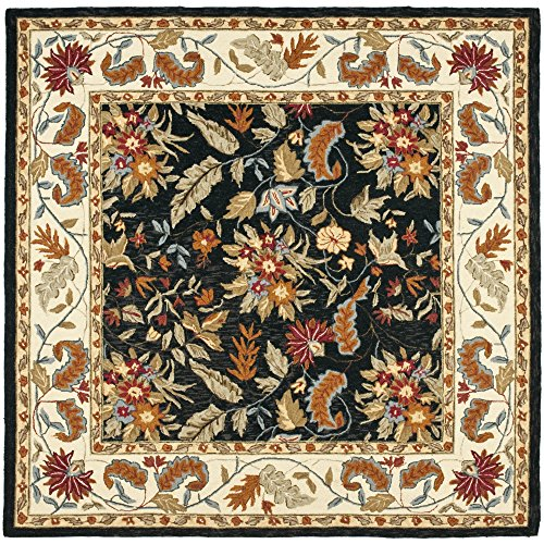 - Safavieh Chelsea Collection HK141B Hand-Hooked Black Premium Wool Square Area Rug (8' Square)