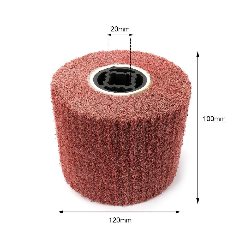 Join Ware 120x100mm 4-4/5'' Non-woven Abrasive Flap Wheel Wire Drawing Polishing Burnishing Wheel for Polishing, 320 Grit| Red
