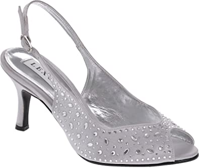 Lexus A023 Alicia ladies medium heel sling back shoe encrusted with heatseal diamantes(5, Taupe)