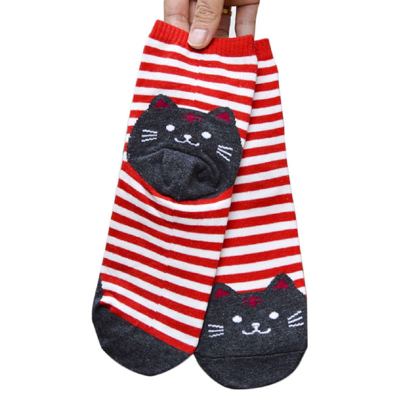Pooqdo(TM) Women Cat Striped Cartoon Socks Footprints Cotton Socks (Red)