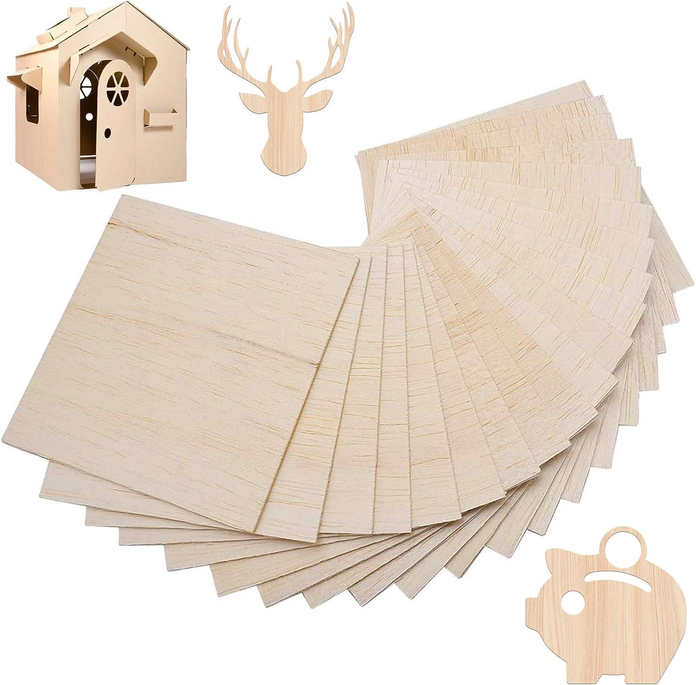 f/ür Basteln Modell Holzplatte 20 St/ück Sperrholzplatten DIY Haus D/ünne Sperrholz-Zuschnitte Laserschnitt (100mm x 100mm x 1.5mm)