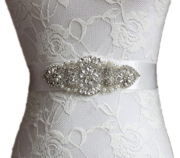 BonusLife Wedding Dress Belt Sash Crystal Beaded Bridal Wedding Gown ...