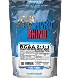 Hard Rhino BCAA 2:1:1 Instantized Branched Chain Amino Acid Powder, 500 Grams (1.1 Lbs), Unflavored, Lab-Tested, Scoop Included