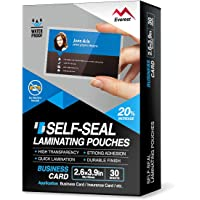 Everest Self Adhesive Laminating Pouches, Self Sealing Pouches for Cards, Waterproof, 2.6 x 3.9 Inches, 30 Sheets,10 Mil…