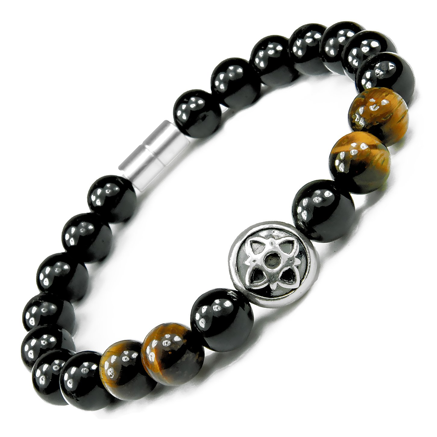ONE ION Gold Nero Power Bracelet - Tourmaline and Tiger Eye - Permanent Magnets - 3 Sizes