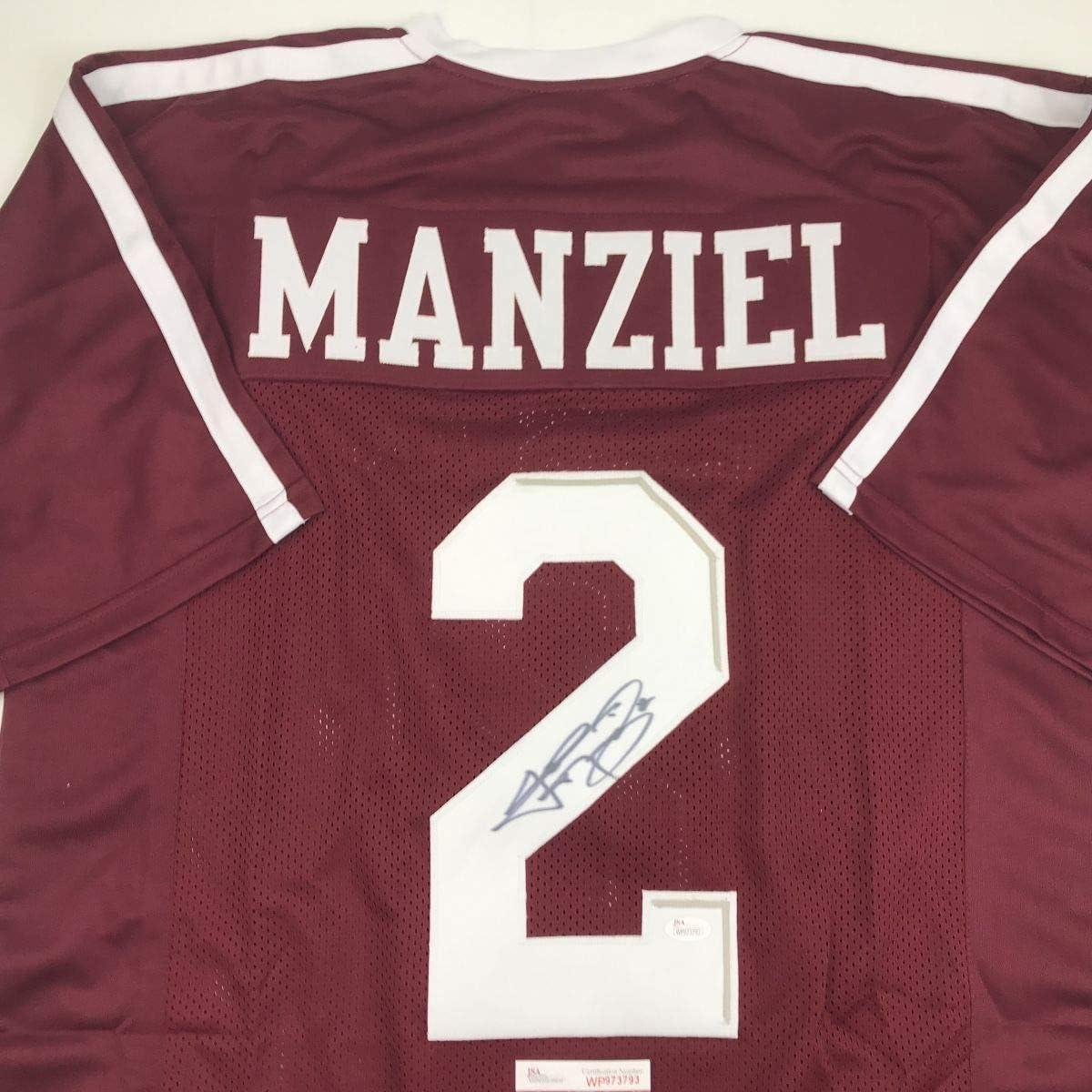 Autographed/Signed Johnny Manziel Texas A&M Maroon College Football Jersey JSA COA