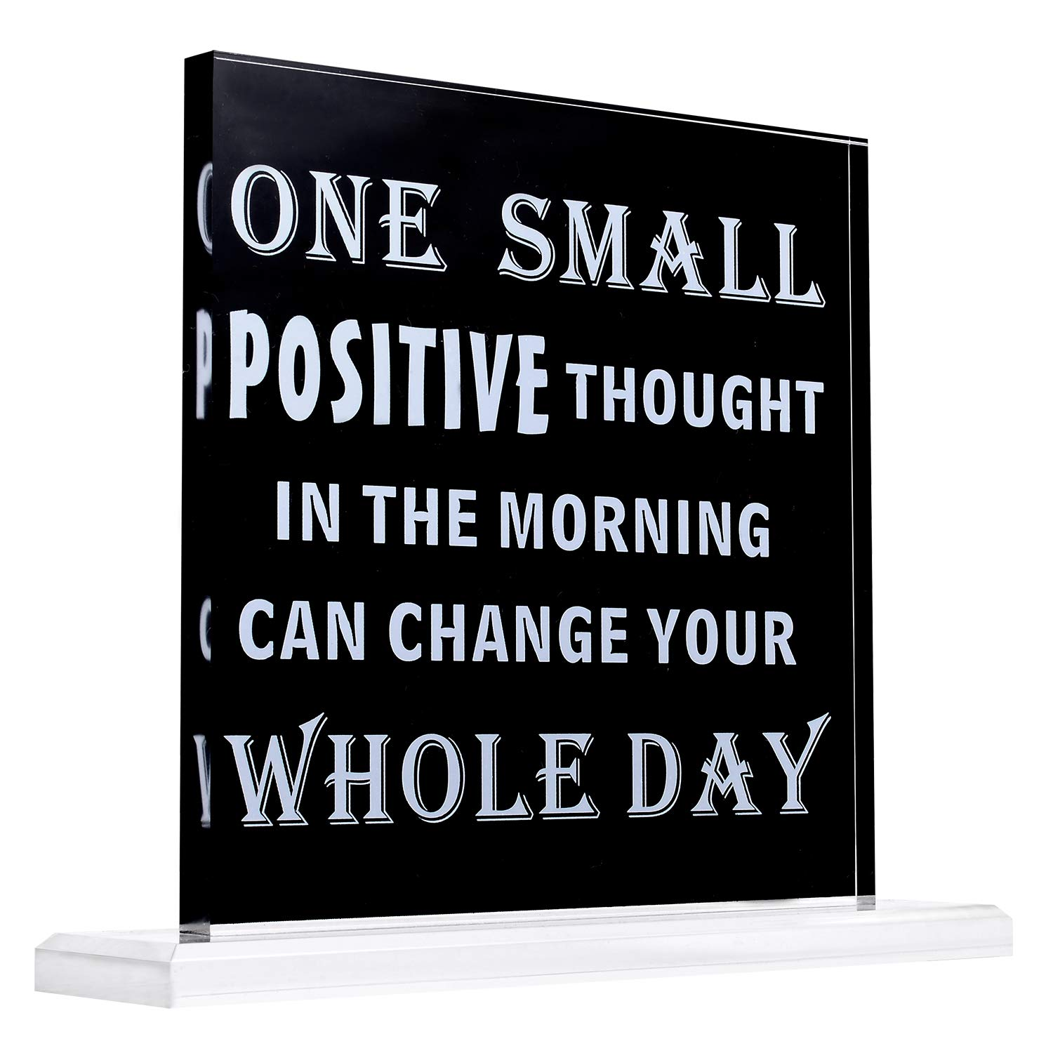 Kichwit Home Decor Sign, One Small Positive Thought in The Morning Can Change Your Whole Day, Inspirational Saying for Desk and Wall Decor