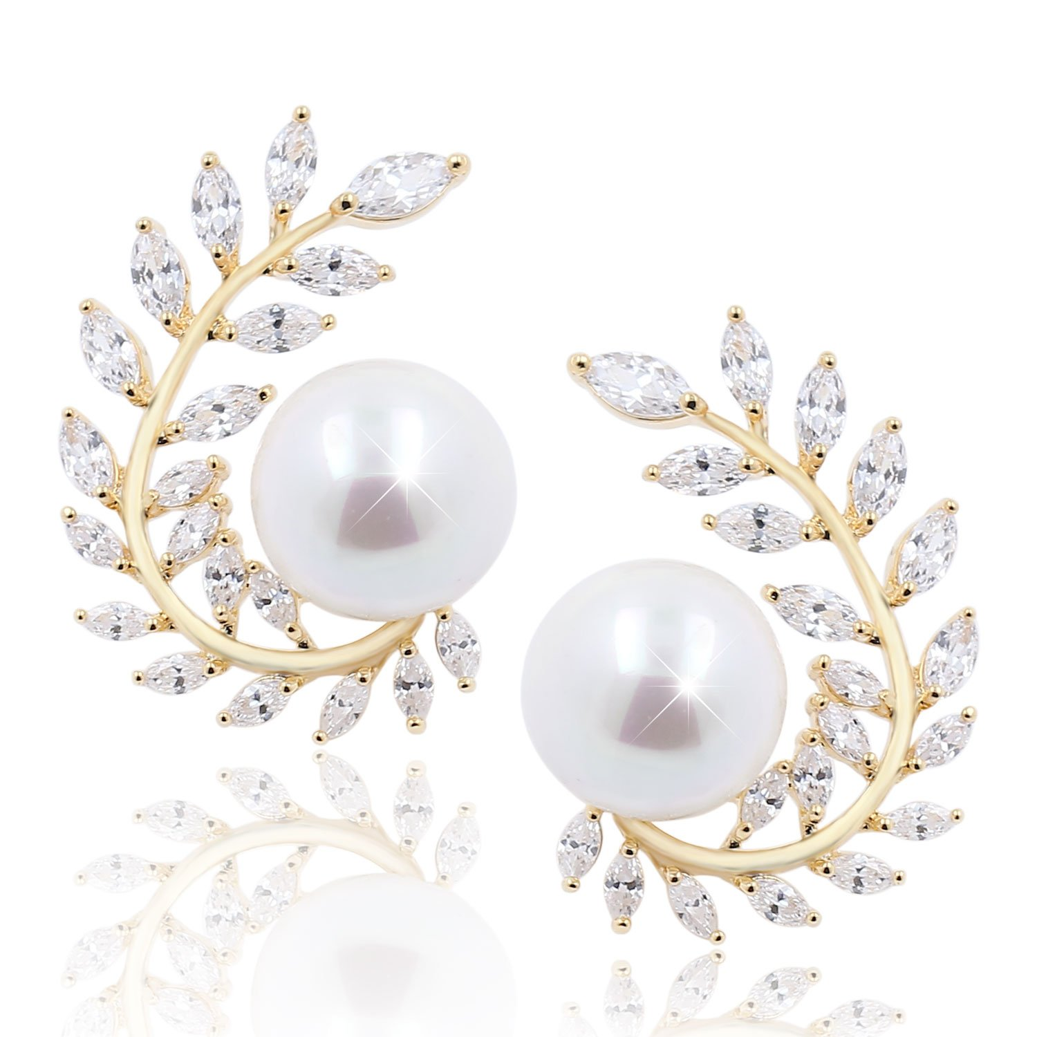 Cubic Zirconia Pearl CZ Diamond Olive Leaf Stud Floral Earrings Wedding Bridal Jewelry for Girls Women, 14K Gold Plated Brass
