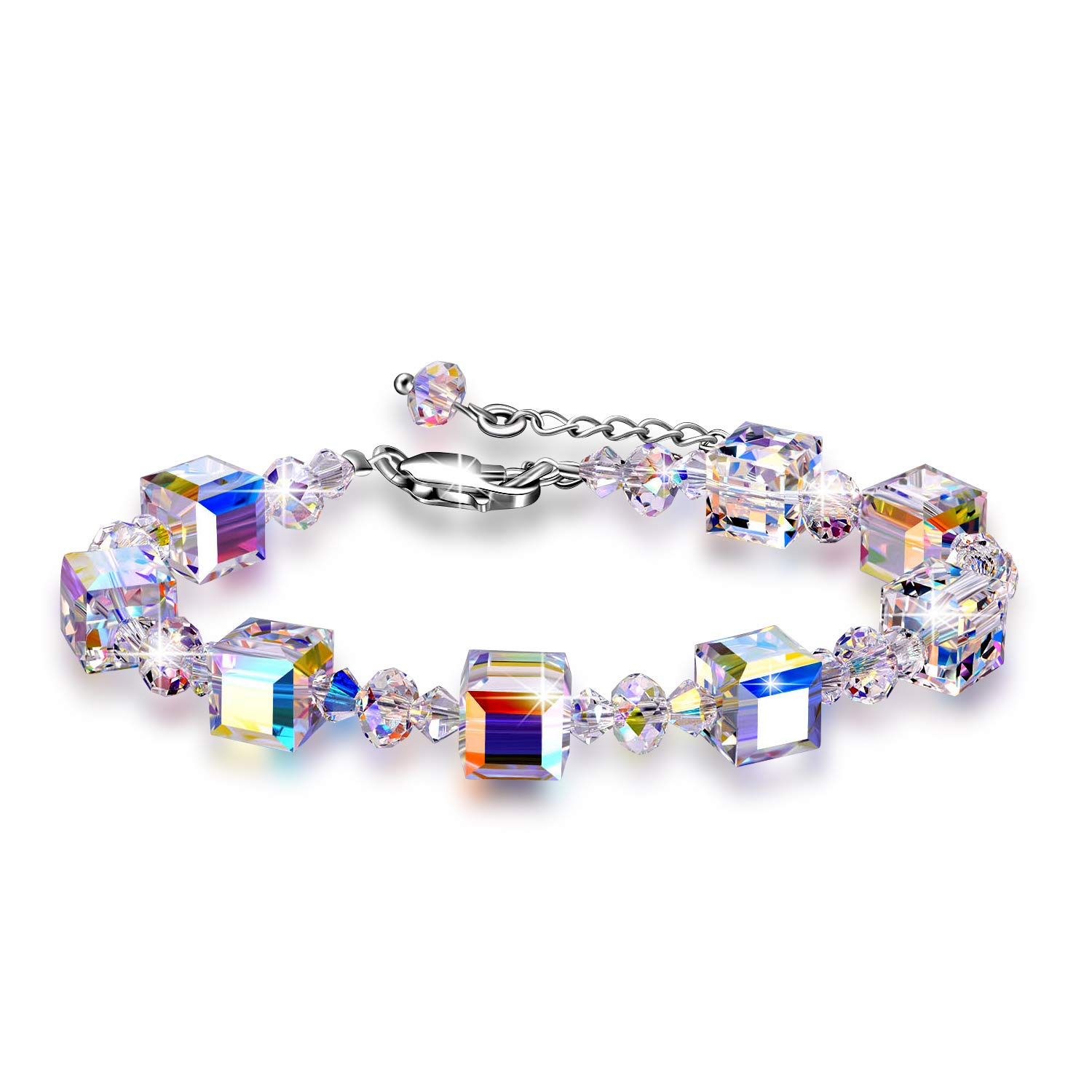 AOBOCO Adjustable Bracelets for Women Cube Romance Heart Bracelet 925 Sterling Silver with Swarovski Crystal Fine Jewelry Gifts for Her