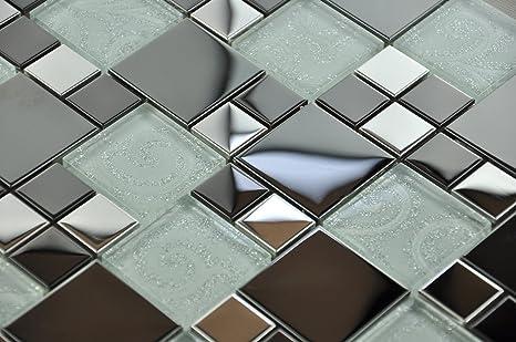 Metallic modulare mosaico di vetro cromo lucido e vetro nero con