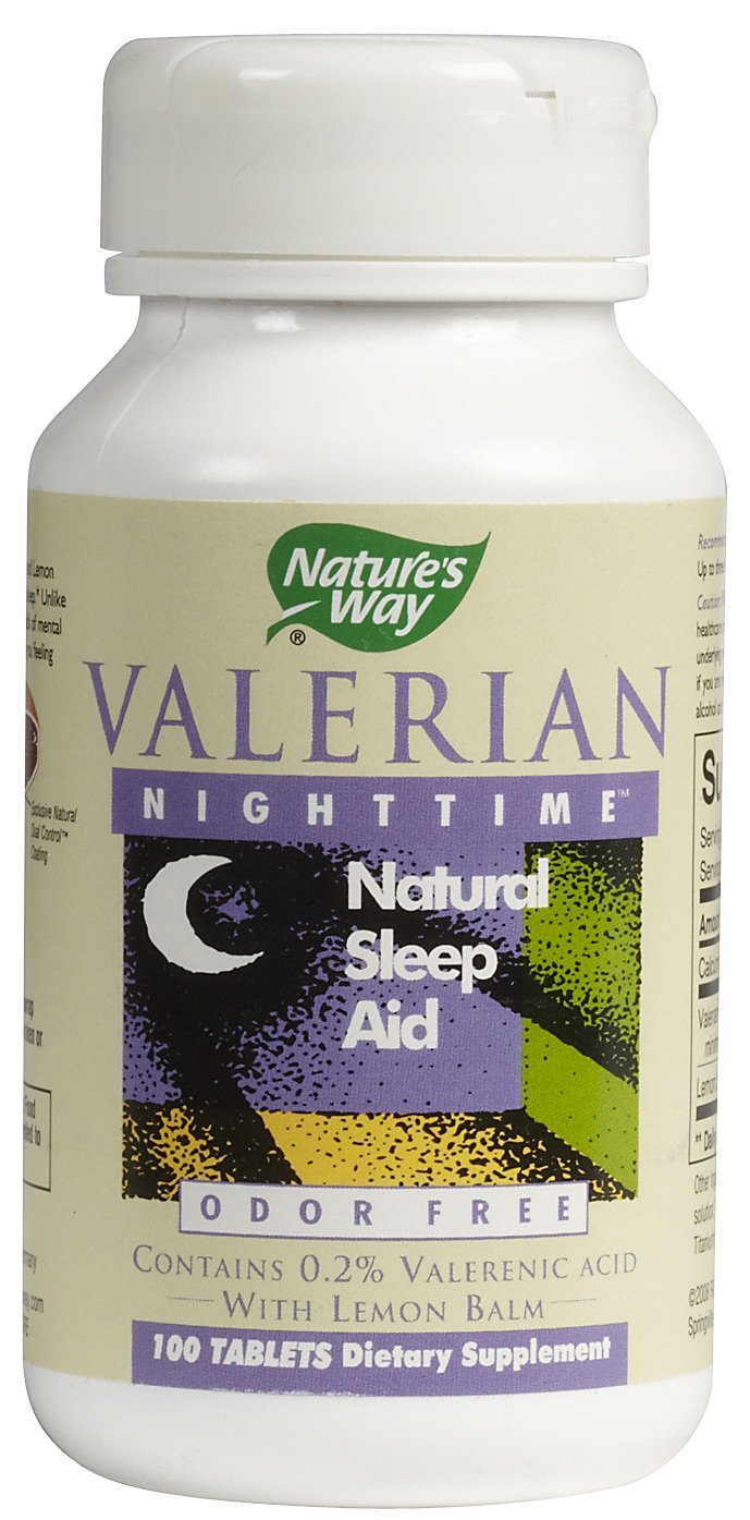 Natures Way Valerian Nighttime Natural Sleep Aid Tablets - 100 Ea, 6 Pack