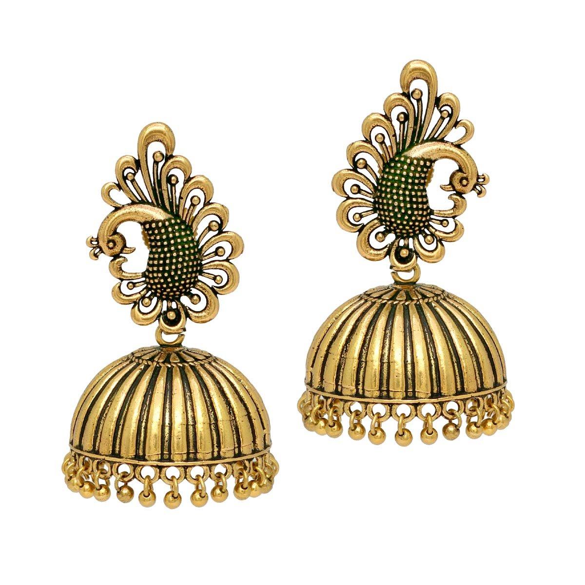 Jaipur Mart Oxidised Plated Jhumka Indian Unique Ethenic bollywood Earrings Jewellery