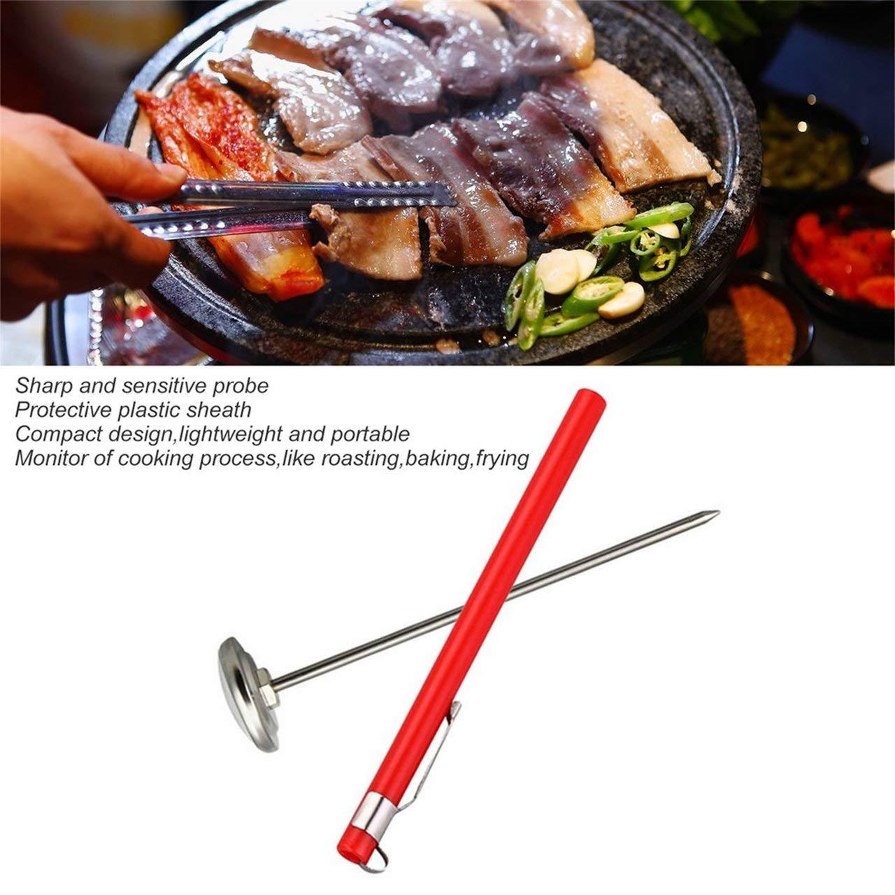fITtprintse Calibro del termometro della sonda Tascabile dellAcciaio Inossidabile per la Carne della Cucina dellalimento del BBQ Che Cucina la Carne di Lettura istantanea del manometro