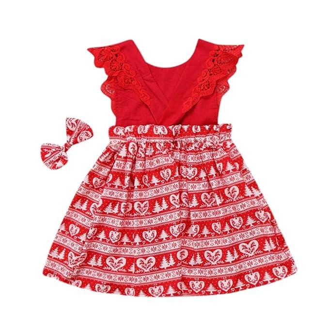 5175c54865b2e Momola Bébé bébés Filles Noël Volant Imprimer Dentelle Bandeau Habiller  vêtements  Amazon.fr  Vêtements et accessoires