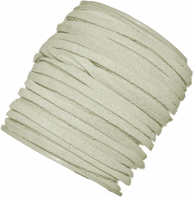elpishop 4mm Flat Lace Leather Cord 5 Yards Black 4x1.5mm