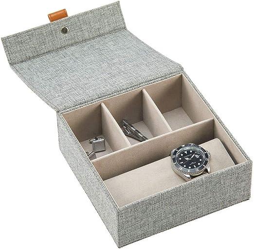 mDesign Joyero para relojes y bisutería – Elegante caja con tapa, 3 compartimentos para joyas y un soporte para relojes – Idónea como caja organizadora para objetos de valor – gris oscuro: Amazon.es: Hogar