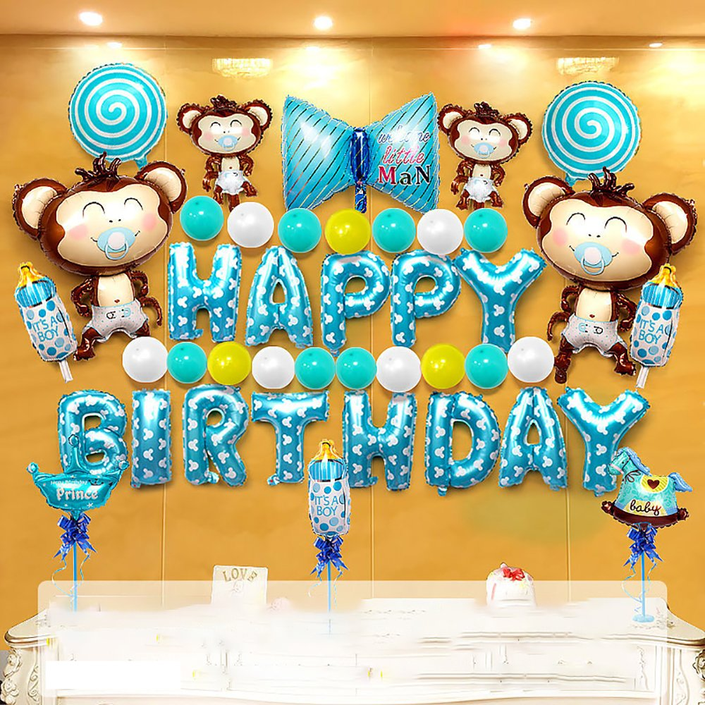 Cartoon Monkey Baby Birthday Party Balloon Set Birthday Party Arrangement Hotel Background Wall Dress Up