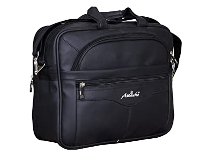 Attache Synthetic Leather 15.6 inch Laptop Black Executive Office Bag  Black  Laptop Messenger   Shoulder Bags