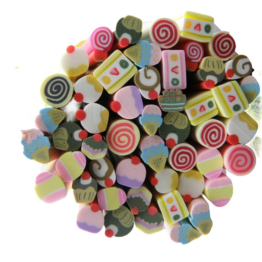 BrilliantDay 50 Sticks 3D Nail Art Cute Designs Fimo Canes Slices Polymer DIY Decoration Sticker Rods for daily use #1