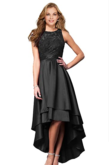 Lily Wedding Womens Halter High Low Prom Dresses 2018 Long Formal Evening  Ball Gowns D76 Black fa4c311fd79f