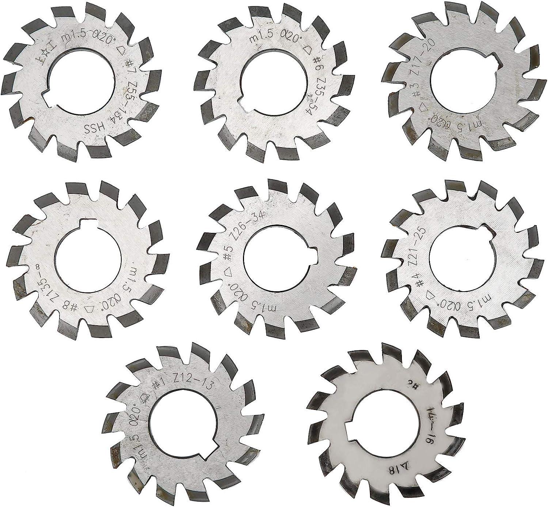 8PCS 기어 커터 고속 강철 절단 공구 산업 용품 M1.5 압력 각도 20° 길이 5MM 직경 6MM 밀링 기계용