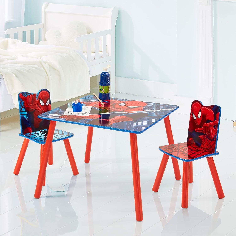 Red and Blue Spider Man Set aus Tisch und 2 St/ühlen f/ür Kinder 63 x 63 x 52.5 cm Holz