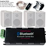 Wireless/Bluetooth Amplifier & 4x 100W White Wall Mounted Speaker Kit –HiFi Active Amp – Stream Audio Quality Background Music Home System