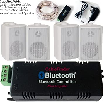 Inalámbrico/Bluetooth Amplificador y 4 x 100 W blanco montado en la pared Kit de