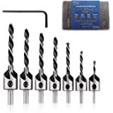 "amoolo 7-Pack Countersink Drill Bit Set with 1 Free Hex Key Wrench, φ 7/64""-13/32"" High Carbon Steel Drill Bits with φ 5…"
