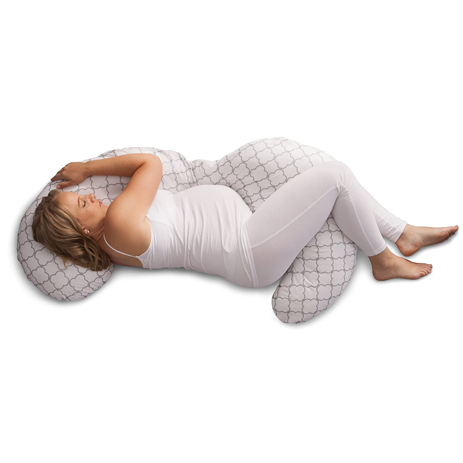 Boppy Slipcovered Pregnancy Body Pillow Trellis, White 5400412K AMC