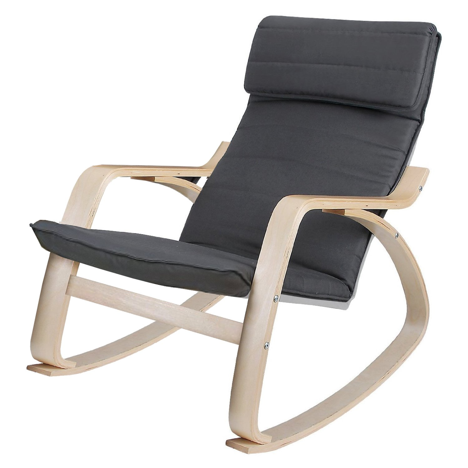 Grey lounge rocking chair comfortable relaxing armchair for Grey comfy chair