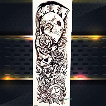 Skull Poker Design Tatuajes Temporales Body Arm Sleeve Girl Rose ...