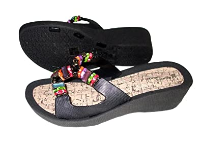 2c3ca6512fbbb Linea Scarpa - Beach Sandals with Beads and Rhinestones - Size 39 (UK 6)