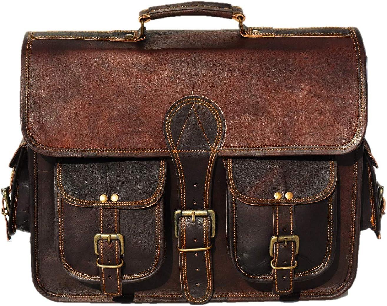 Urban Dezire 16 Inch Leather Messenger bag Shoulder Men Laptop Briefcase Vintage Satchel