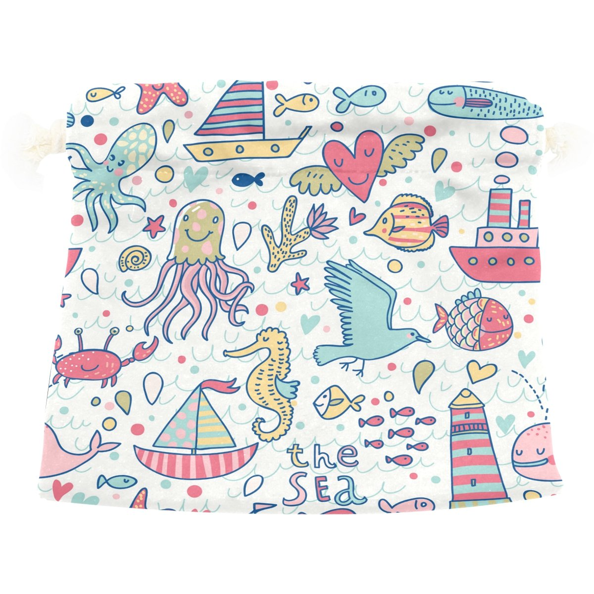 Dragon Sword Seagull Whale Squid Octopus Boat Lighthouse Nautical Gift Bags Jewelry Drawstring Pouches for Wedding Party, 5.5x5.5 Inch