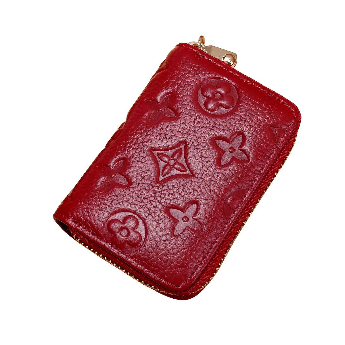 Auner Womens Wallet RFID Blocking Genuine Leather Multi Credit Card Holder Zipper Small Wallets - Dark Red