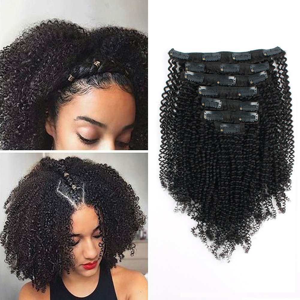 Buy Sassina Double Wefts Clip In Human Hair Extensions Kinky Coily Style 4b Natural Black For African Americans Afro Kinky Coily Clip On 7pcs Lot 120grams Set 4c 14 Inch 14 Inch 4c Online