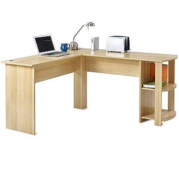 Escritorio de oficina en forma de L para ordenador, mesa grande para esquina para PC con 2 estantes para el hogar y la oficina: Amazon.es: Hogar