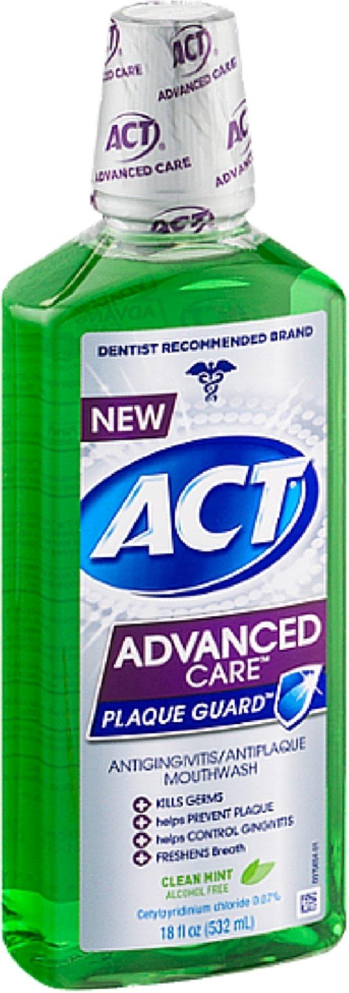 ACT Advanced Care Plaque Guard Mouthwash, Clean Mint 18 oz (Pack of 10)