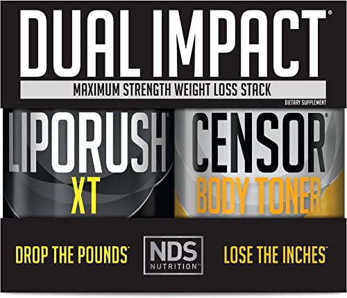 NDS Nutrition Maximum Strength Dual Impact Stack – Complete 2-in-1 Fat Loss Stack Enhanced with Teacrine, L-Carnitine, CLA for Serious Results – Censor 90 Softgels LipoRush XT 60 Capsules