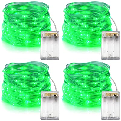 Xingpold 4 Pack Green St Patrick's Day String Lights Battery Operated, 16.5ft/5m 50 LEDs Twinkle Fairy Lights Green Christmas Lights for Irish Party Christmas Tree Home Decor(Set of 4, Green) : Garden & Outdoor