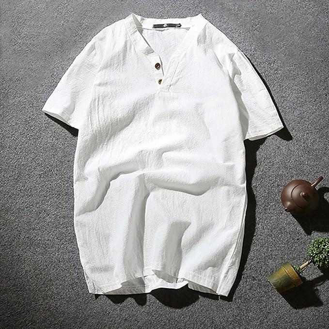 Camiseta para Hombre, Verano Algodón y Lino Manga Corta Color ...