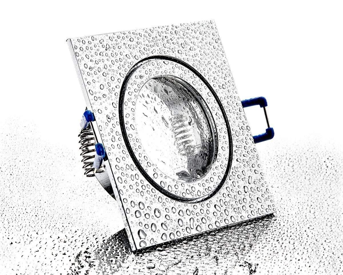 Faretto da incasso in alluminio IP44, cromato, brillante e quadrato, con chiusura a scatto e copertura in vetro, per bagni e ambienti umidi