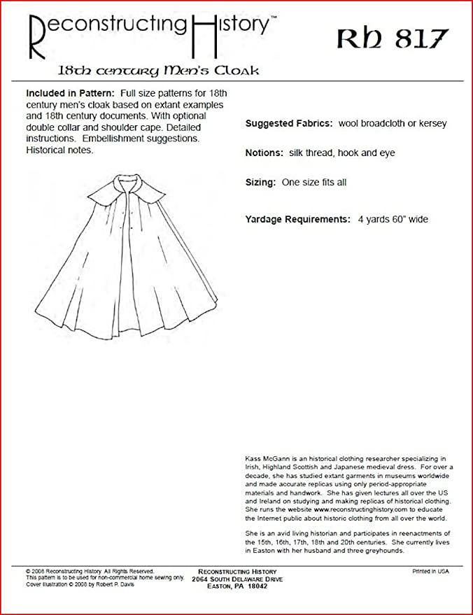 Amazon.com: 18th Century Men\'s Cloak Pattern: Arts, Crafts & Sewing